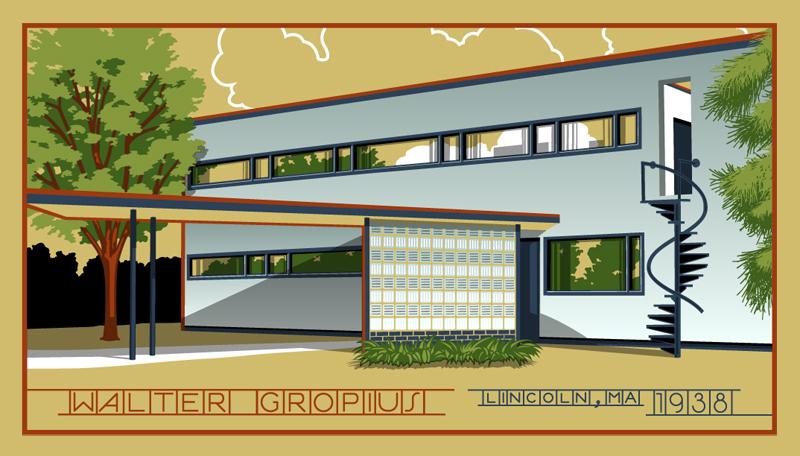 Walter Gropius House Bauhaus Lincoln Massachusetts Print